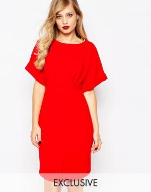 Closet London Платье миди с рукавами-кимоно и поясом на спине - Красный 4136105