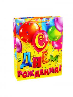Пакет подарочный с музыкой А М Дизайн. Цвет: фуксия, желтый