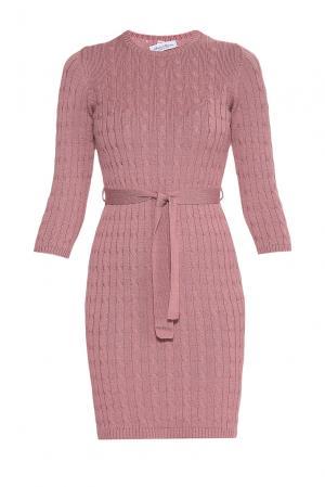 Платье из шерсти с поясом 181143 Andre Maurice. Цвет: розовый