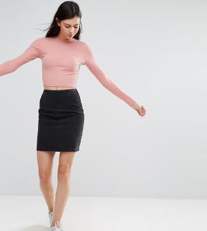ASOS Tall Выбеленная черная джинсовая мини-юбка. Цвет: черный