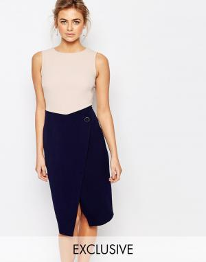 Closet London Платье-футляр миди 2 в 1 с пуговицами. Цвет: мульти
