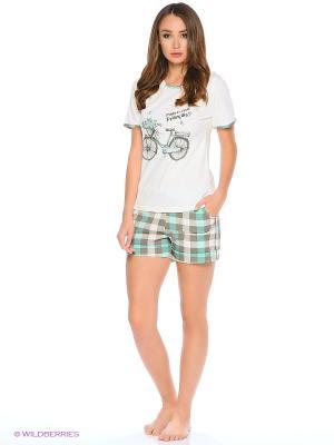 Комплект-футболка, шорты FORLIFE. Цвет: белый, зеленый