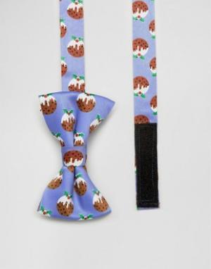 SSDD Галстук-бабочка с принтом рождественских пудингов. Цвет: синий