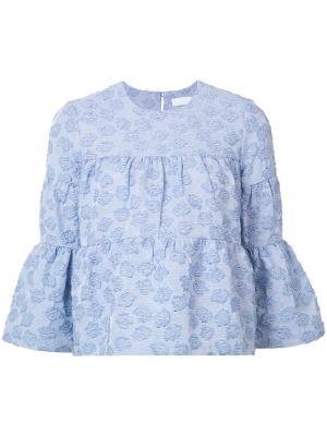 Топ с цветочной вышивкой Co. Цвет: синий