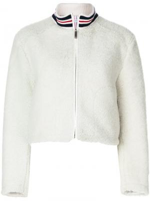 Funnel Neck Zip Up Jacket In Dyed Shearling Thom Browne. Цвет: белый