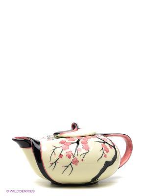 Заварочный чайник Сакура Pavone. Цвет: молочный, розовый