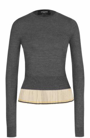 Шерстяной пуловер с шелковой плиссированной оборкой Rochas. Цвет: серый