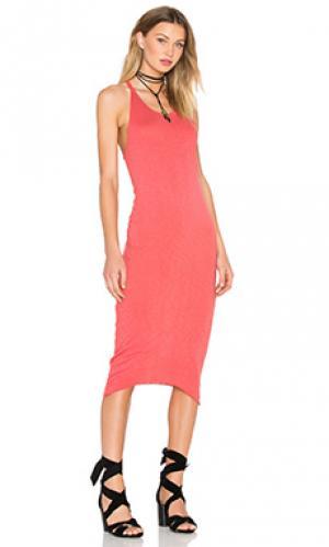 Облегающее платье из хлопка и джерси с y-шлейками сзади Stateside. Цвет: красный