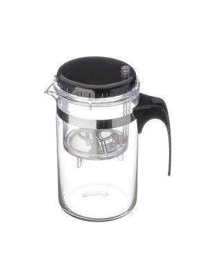 Чайник заварочный с кнопкой 500мл, стекло, пластик Vetta. Цвет: черный