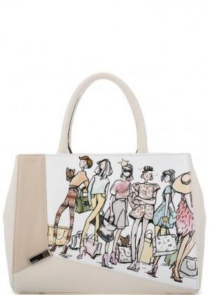 Кожаная сумка с короткими ручками Curanni. Цвет: мультиколор