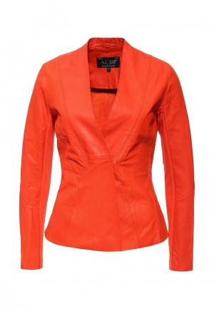 Куртка кожаная Armani Jeans. Цвет: оранжевый