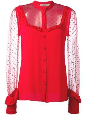 Блузка с полупрозрачными вставками и оборками Piccione.Piccione. Цвет: красный