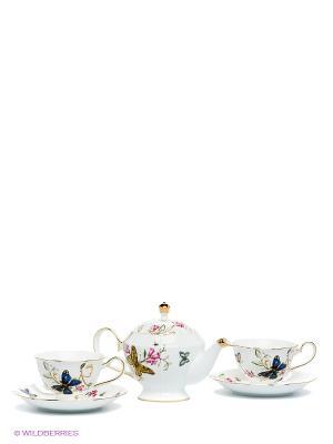 Чайный набор Райский уголок Pavone. Цвет: белый, синий
