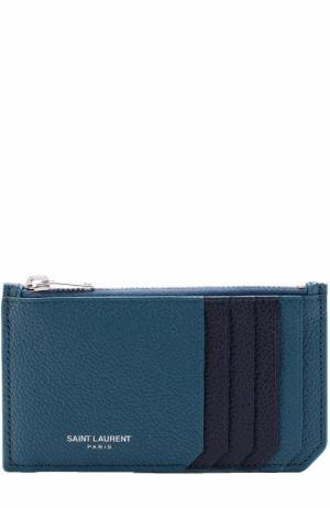 Кожаный футляр для кредитных карт с логотипом бренда Saint Laurent. Цвет: зеленый
