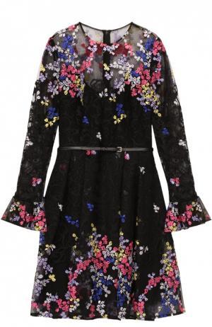 Приталенное мини-платье с контрастной цветочной вышивкой Elie Saab. Цвет: разноцветный