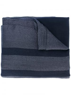 Полосатая шаль Salvatore Ferragamo. Цвет: синий