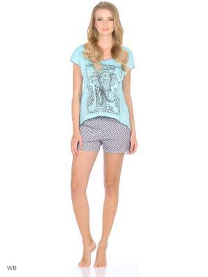 Костюм домашний (футболка, шорты) HomeLike. Цвет: голубой