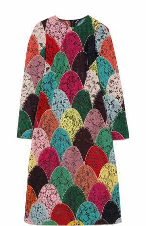 Приталенное кружевное платье-миди с длинным рукавом Dolce & Gabbana. Цвет: разноцветный