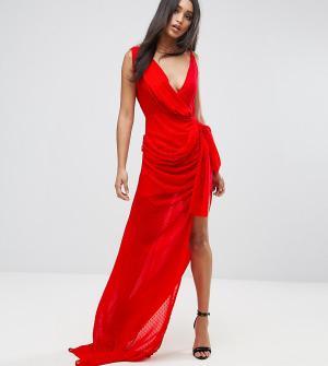 Lioness Платье макси с запахом. Цвет: красный