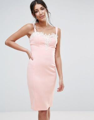 Paper Dolls Платье с вырезом сердечком и ажурной отделкой. Цвет: розовый