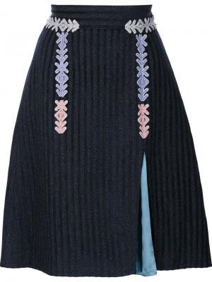 Бархатная полосатая юбка Peter Pilotto. Цвет: чёрный
