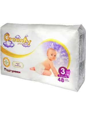 Одноразовые детские подгузники GREENTY 3 (5-11 кг) 48 шт.. Цвет: белый