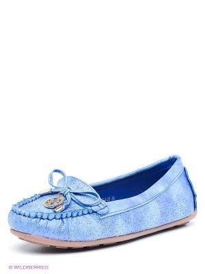 Мокасины Daze. Цвет: голубой