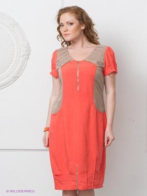 Платье Gemko plus size. Цвет: коралловый, бежевый
