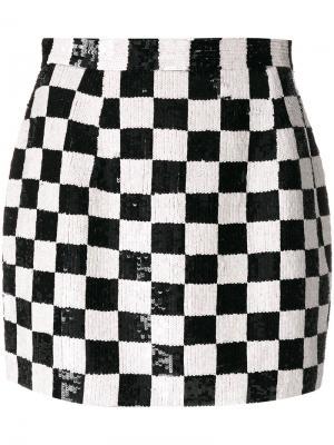 Мини-юбка в клетку с пайетками Ashish. Цвет: чёрный