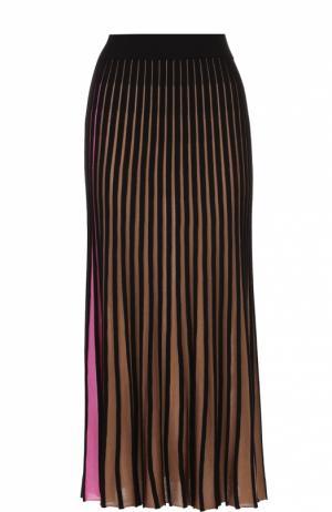 Плиссированная юбка-миди в контрастную полоску Kenzo. Цвет: бежевый