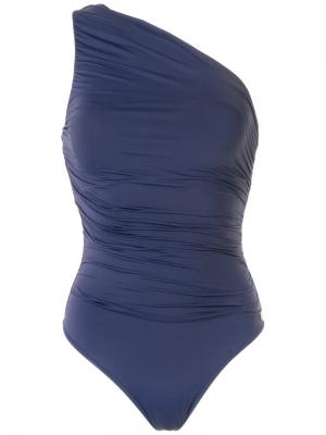 One shoulder swimsuit Brigitte. Цвет: синий