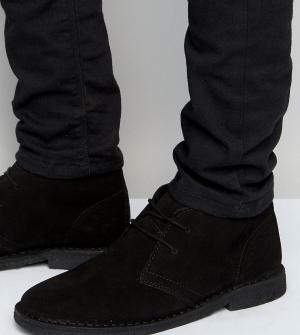 ASOS Черные замшевые дезерты для широкой стопы. Цвет: черный