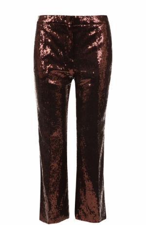 Укороченные расклешенные брюки с пайетками No. 21. Цвет: бронзовый