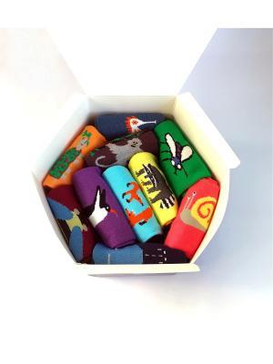 Набор носков в коробке, 10 пар Big Bang Socks. Цвет: синий, бордовый, голубой, желтый, зеленый, коричневый, морская волна, оранжевый, розовый, фиолетовый