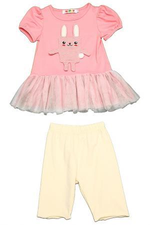 Комплект: туника, бриджи Kidly. Цвет: розовый