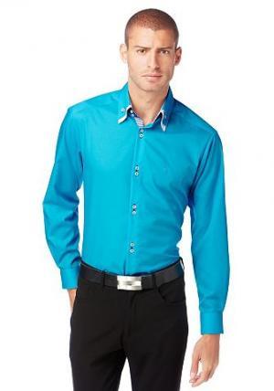Рубашка в деловом стиле от BRUNO BANANI. Цвет: бирюзовый