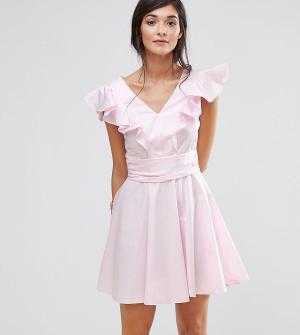 Closet London Хлопковое короткое приталенное платье с оборками. Цвет: розовый