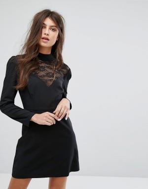 Fashion Union Кружевное платье с длинными рукавами и высоким воротом. Цвет: черный