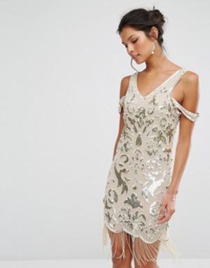 Frock and Frill Платье мини с бахромой и бисерной отделкой Premium. Цвет: мульти