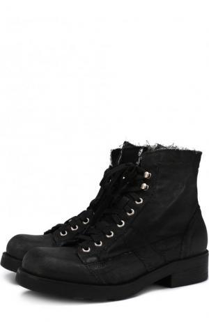Высокие текстильные ботинки на шнуровке O.X.S.. Цвет: черный