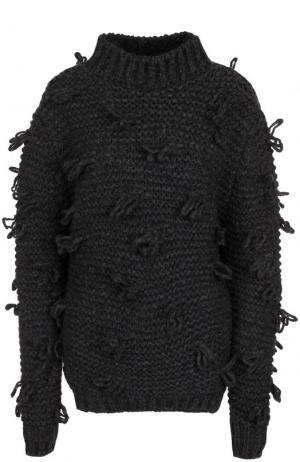 Однотонный шерстяной свитер фактурной вязки Simone Rocha. Цвет: серый