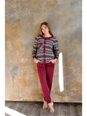 Пижама, кофта и штаны Весталия. Цвет: бордовый, бежевый