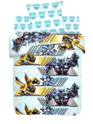 Комплект постельного белья 1,5 бязь Автоботы Transformers. Цвет: бирюзовый, желтый, серый