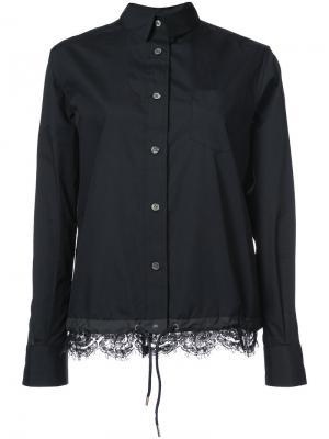 Рубашка с кружевным подолом Sacai. Цвет: чёрный