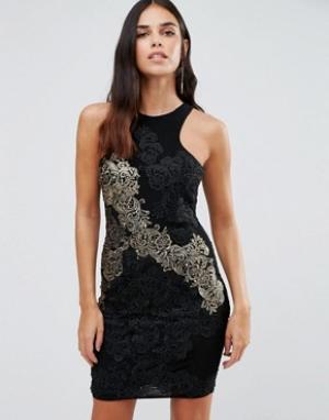 Forever Unique Облегающее платье с отделкой из золотистого кружева Dar. Цвет: черный