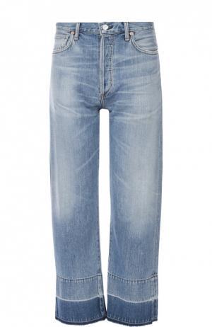 Укороченные джинсы с завышенной талией и потертостями Citizens Of Humanity. Цвет: голубой
