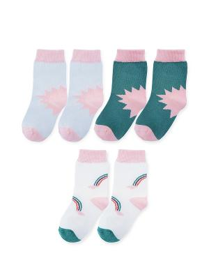 Носки детские, 3 пары Prosto tak. Цвет: зеленый, белый