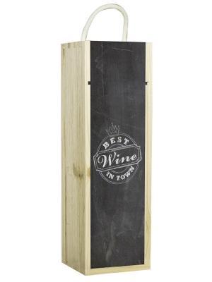Подарочная коробка для вина Best wine in town Contento. Цвет: черный, светло-коричневый