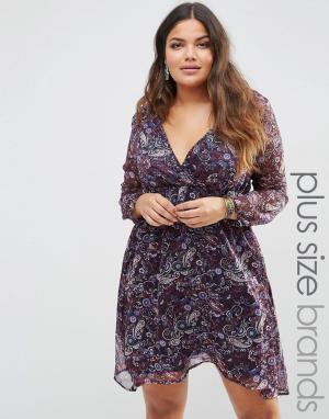 Diya Платье с длинными рукавами и запахом спереди Plus. Цвет: фиолетовый