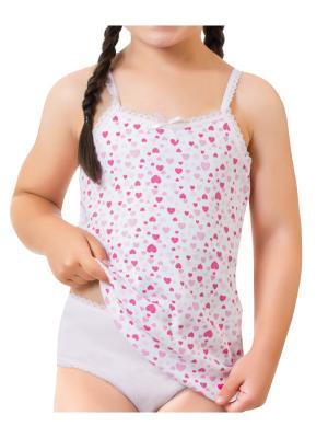 Майка и трусы для девочек Oztas kids' underwear. Цвет: розовый, белый